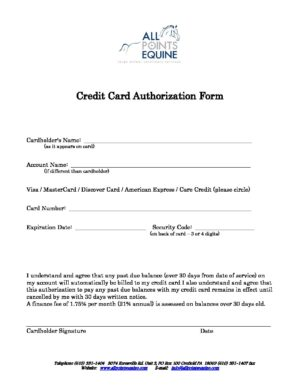 Your Credit Card Authorization Form For All Points Equine